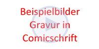 Beispielbilder für ein Kinderbesteck mit Gravur in Comicschrift
