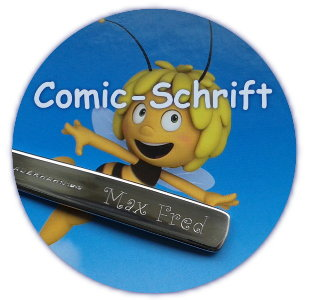 Gravur in Comic-Schrift Max Fred