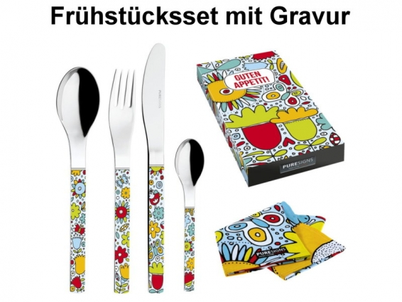 besteck set guten appetit 5tlg kinderbesteck mit namens gravur und. Black Bedroom Furniture Sets. Home Design Ideas